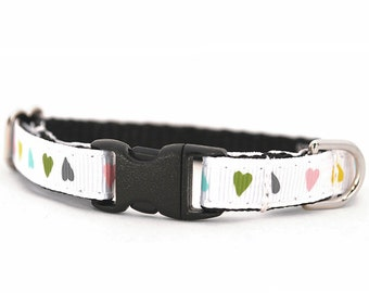 Hearts Puppy Collar - White, Turquoise, Green, Yellow, Pink Puppy Collar - Valentine's Toy Small Dog Collar - The Cupid