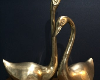 Vintage XL Brass Birds Swans Geese Set of Two