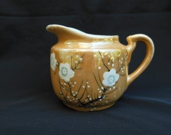 Floral Lusterware Creamer Made in Japan Handpainted Little Pitcher with White Flowers