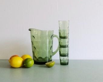 Hazel Atlas Eldorado Glass Pitcher and Juice Glasses  / Green Coin Dot Glass / Eldorado Glasses / Avocado Green Thumbprint Glass