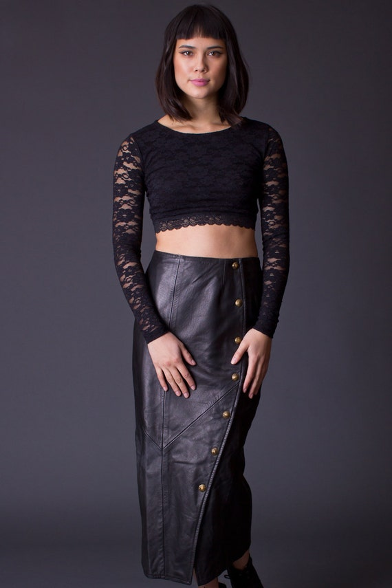 90s vintage snap front leather pencil skirt in black