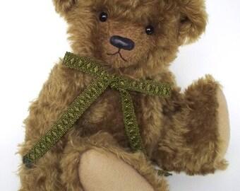 """SALE, Artist Mohair Bear, 13"""", OOAK, Traditional Teddy Bear, Green Mohair, Christmas Gift"""