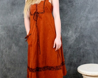 1970 Peasant Dress Hippie dress Boho Floral Prairie dress  by Jody T of California Corset style dress