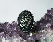 Sugar Skull Cameo Ring - Adjustable Flower Sugar Skull Lady