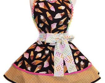 "READY TO SHIP-""Ice Cream Cones"" Pinup/Diner Style Apron -- A  Tie Me Up Aprons Exclusive!"