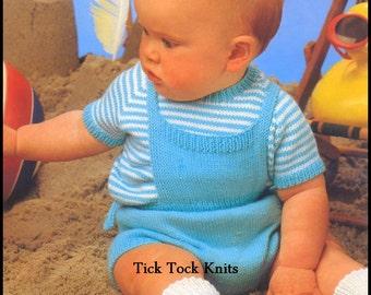No.342 Baby Knitting Pattern PDF Vintage - Overall Shorts, T-Shirt & Socks - Size 3, 6, 12 months - Baby Shorts Knitting Pattern