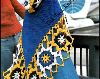 No.371 Crochet Hooded Shawl Pattern 1970's Vintage PDF - Women's Hooded Medallion Shawl - Retro Crochet Pattern - Instant Download