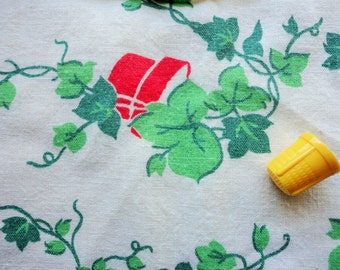 red pots and green ivy novelty print vintage full feedsack fabric