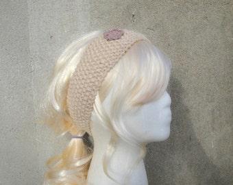 Organic Cotton Headband with Flower, Button Back, Natural - Ecru, Hand Knit, Bandana Headwrap