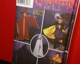 Simplicity Costumes for Kids Pattern 5512- Child's Capes uncut Wizard, Muskateer, Grim Reaper, Robin Hood Halloween Costume pattern
