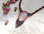Macrame Necklace with a Rose Quartz Pendent, Pink and Turquoise, Bohemian Jewelry