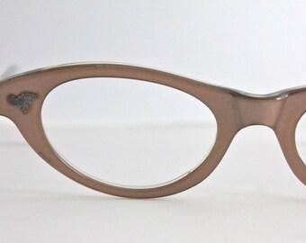 Vintage 50's French Pearl Rose Cat Eyeglasses Frames