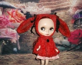 Blythe ~ Easter Rabbit  Helmet & Cape~Vintage Inspired ~ Hand Dyed 'Vintage Red' German Viscose  by KarynRuby