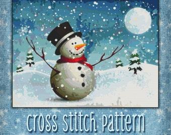 Cross Stitch Pattern Snowy Night Snowman Winter Design Instant Download PdF