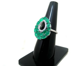 Green Onyx 925 Sterling Silver Ring setted Gemstone Cabochons & Cubic Zircona White Rhodium Plated Jewelry Beautiful wedding Gift for her