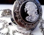 Gothic Cameo Necklace Steampunk Compass Pendant Gothic Locket Gothic Jewelry Steampunk Jewelry