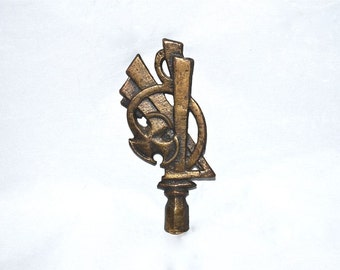 Large Distinctive Art Deco Art Nouveau Iron Lamp Finial Very Vintage