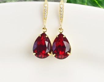 Swarovski Earrings - Red Earrings Gold - Bridesmaid Jewelry - Ruby Earrings - Bridal Jewelry - Wedding Jewelry - Swarovski Crystal Jewelry
