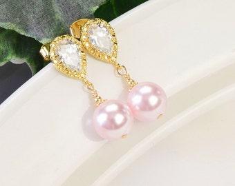 Pink Pearl Earrings - Gold Cubic Zirconia Earrings - Pearl Bridesmaid Earrings - Bridesmaid Jewelry - Swarovski Pearl Wedding Jewelry