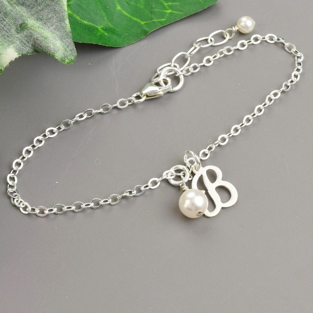 pearl initial charm bracelet sterling silver personalized