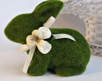 Moss Topiary Bunny Vintage Velvet Pansy Ribbon Millinery Easter Spring Decor Baby Nursery Bridal Shower Garden Centerpiece