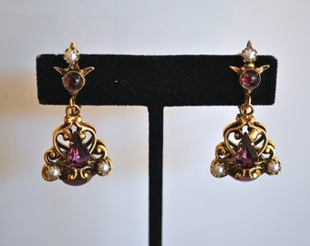 VINTAGE VENDOME purple and pearls EARRINGS