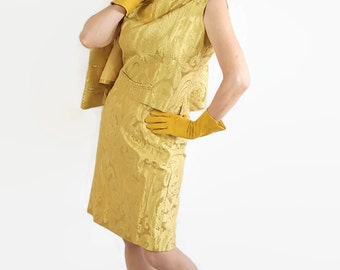 50s 60s Dress / Roberta Lee / Wiggle Dress / Mid Century / Mad Men / Separates / Gold