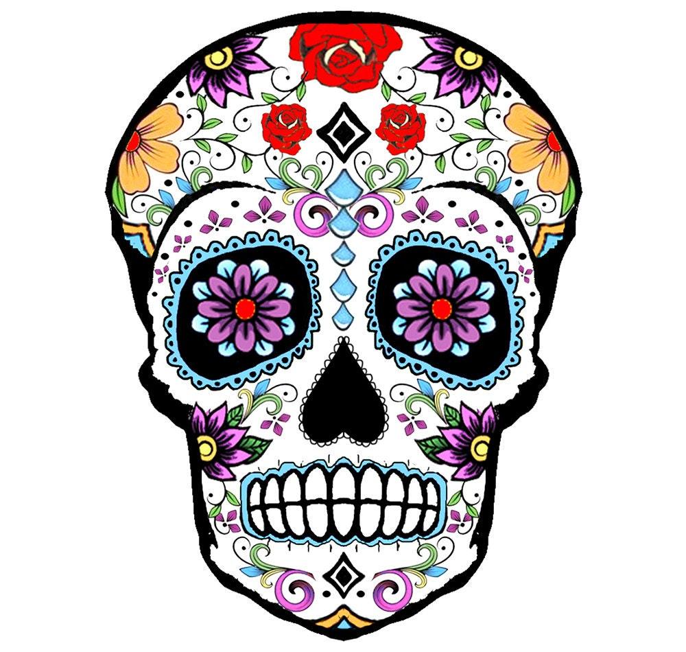 Sugar skull temporary tattoo 8x6cm by inkweartattoos on etsy - Tatouage crane mexicain ...