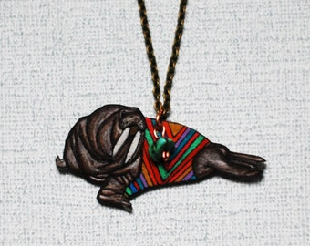SALE Walrus Necklace / Chevron Animal / Chevron Necklace / Striped  / Marine Mammal /  Shrink Plastic Jewelry