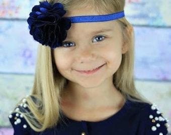 Navy Blue Headband with Satin & Tulle -  Baby Infant Toddlers Girls Women Flower Girl Navy Winter Wedding