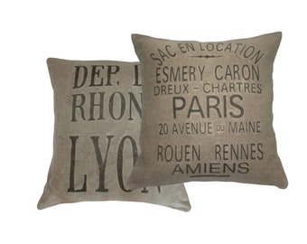 French Country Grain Sack Pillow Covers, Esmery Caron & Lyon, Industrial Loft, Farmhouse style
