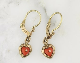Victorian Coral Heart Drop Earrings - 9k Yellow Gold - Bridal Wedding Jewelry