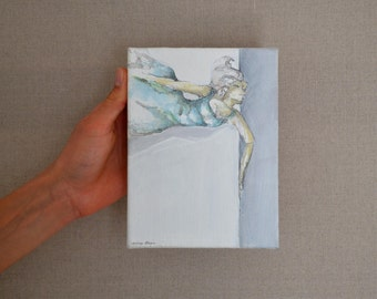 Series Fly - Original acrylic painting -  Woman flowing - art,female painting,modern art,small size, art on canvas