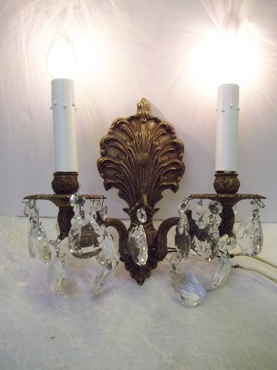 two light bronze crystal wall sconce vintage brass crystal