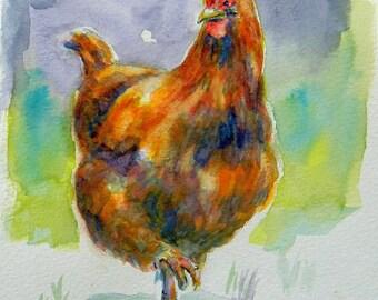 Little Red Hen - Barnyard Chicken Art Print Home Decor