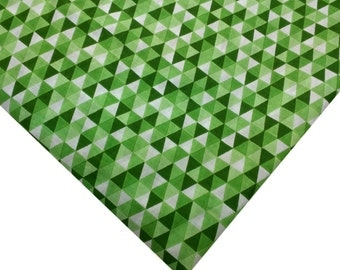 Green and White Fabric Soft Cotton Fabric - Triangle Block Printed Cotton Fabric - Printed Cotton Fabric By Yard
