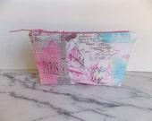 Paris Zipper Pouch - Shabby Chic - Vintage Look - Pink  - White