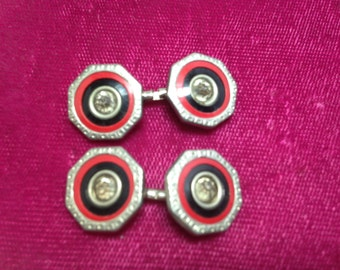 Vintage 1920s-30s Art Deco Double-Sided Cuff Links Red, Black   Item: 17063