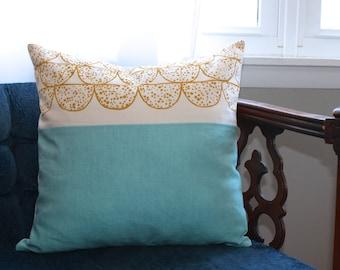 mustard yellow + blue color block pillow   linen pillow   robin's egg blue linen   18 x 18 inch pillow cover