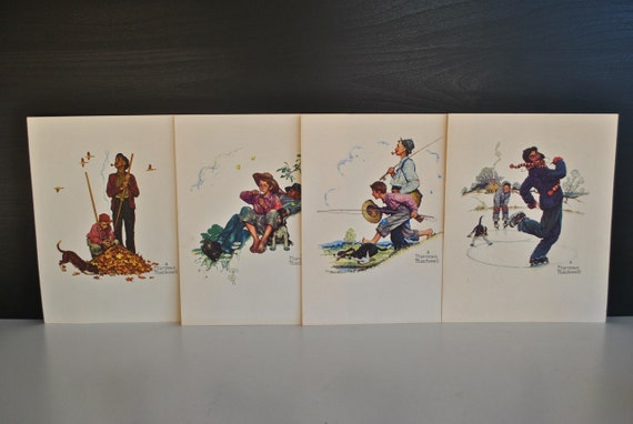 Norman Rockwell Four Seasons Print Set By Charliesnest On Etsy