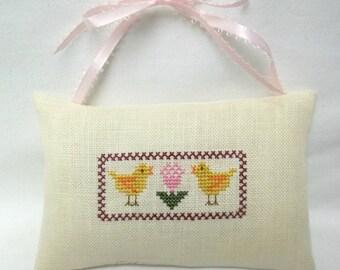 Chicken Baby Chicks Cross Stitch Hanging Mini Pillow