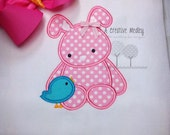 Bunny With Bird Applique EMBROIDERY DESIGN -instant download