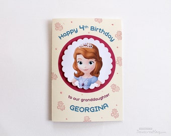 Sofia the First Birthday Card for Girls - Personalized for Kids Handmade Greeting Card for girls Custom Made with Sofia the First