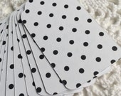 Polka Dot Paper Tags, Black and White Gift Tags, Bridal Shower Favor Tags - Set of 100
