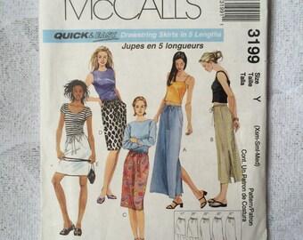 Long Drawstring Skirt, Misses Skirt Pattern, McCalls 3199, UNCUT Factory Folded, Xsmall, Small, Medium