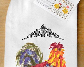 Flour Sack Tea Towels with Rooster, fall squares,Fall Bouquet, Fall Tree, fall collage