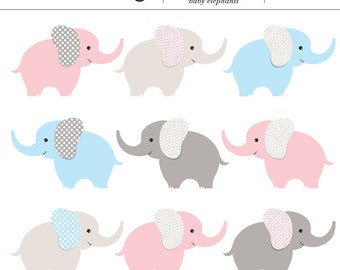 Pink, Blue and Gray Baby Elephants Digital Clip Art - 9 Pieces, Twins, Baby Shower, Baby Boy, Baby Animal, Baby Girl, Gender, Elephant