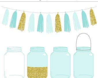 High Quality Blue Mason Jars and Tassel Clip Art Set - Gold Glitter, Wedding Invitation, Ball Jar, Vintage, Commercial Use, Instant Download