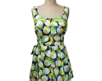 vintage 1960s playsuit / 1960s swimsuit bathing suit / Gabar / graphic novelty print / summer beach / women's vintage swimwear / size 18