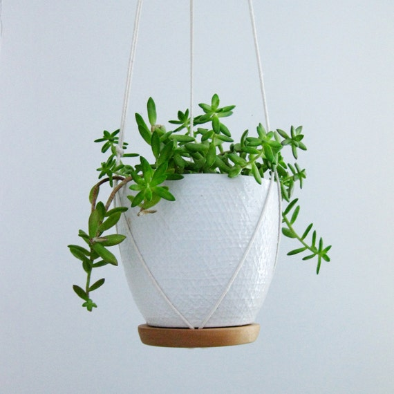 Recycled Wood And Cotton Plant Hanger By Blisscraftandbrazen